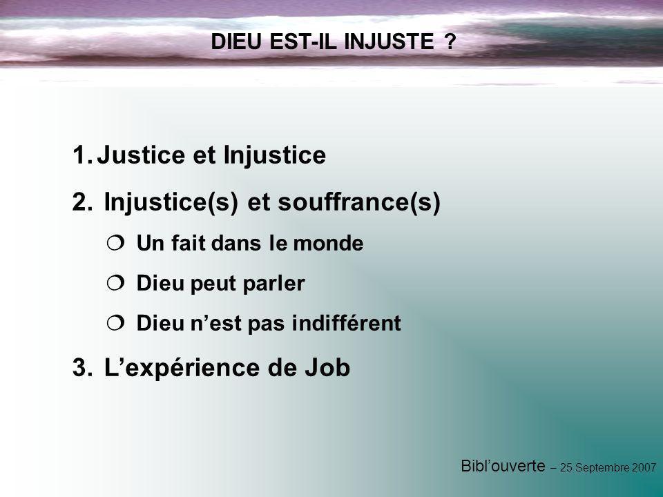 Injustice(s) et souffrance(s)