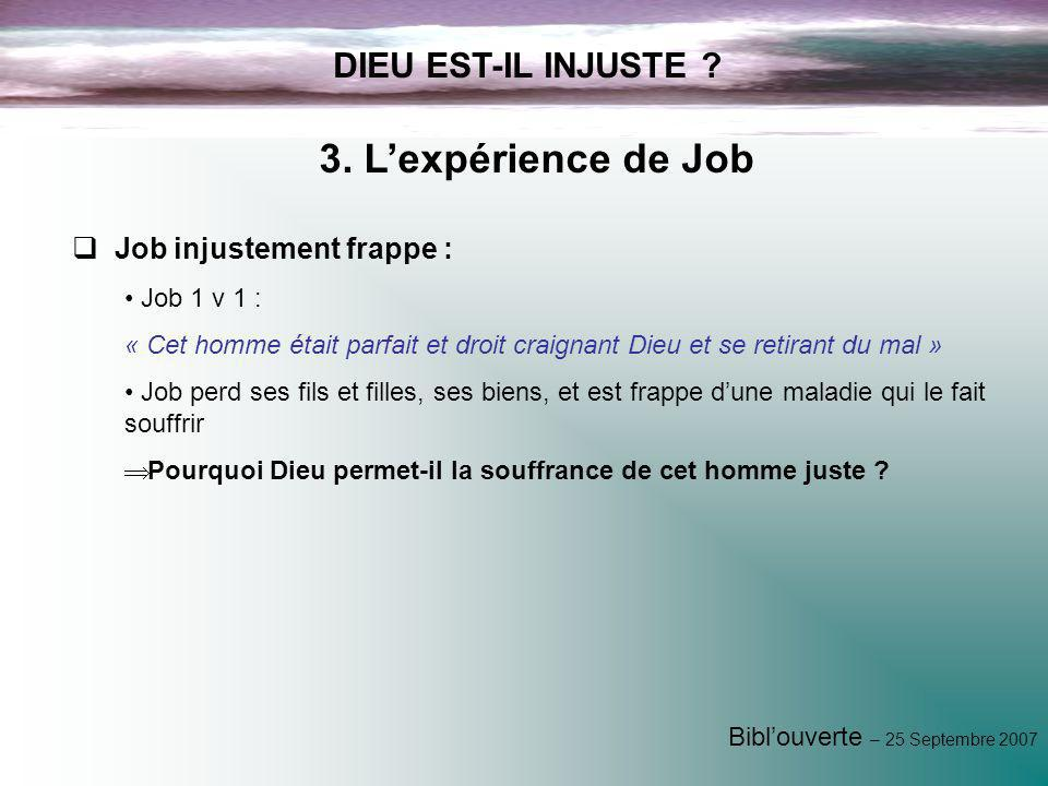 3. L'expérience de Job DIEU EST-IL INJUSTE Job injustement frappe :