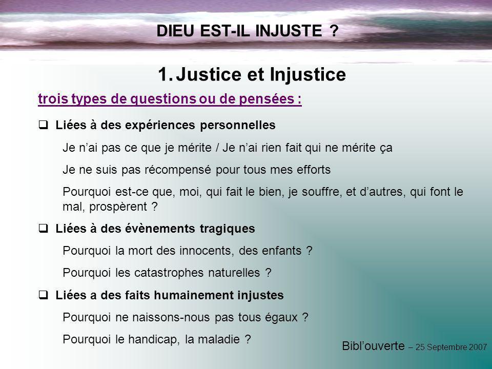 Justice et Injustice DIEU EST-IL INJUSTE