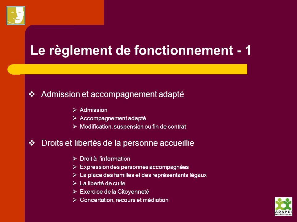 Le règlement de fonctionnement - 1