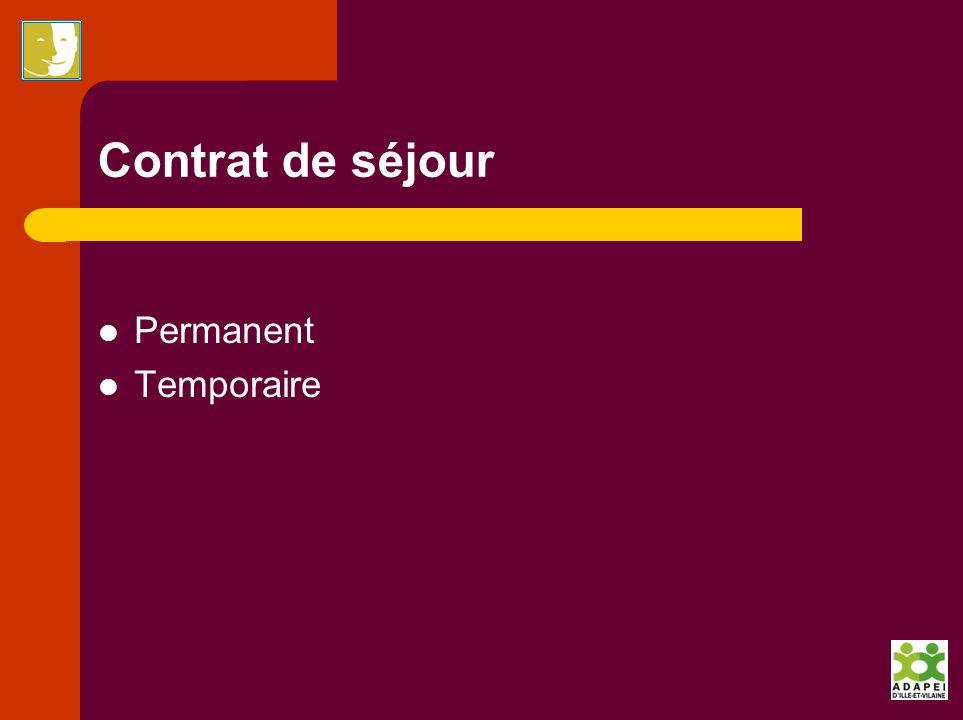 Contrat de séjour Permanent Temporaire