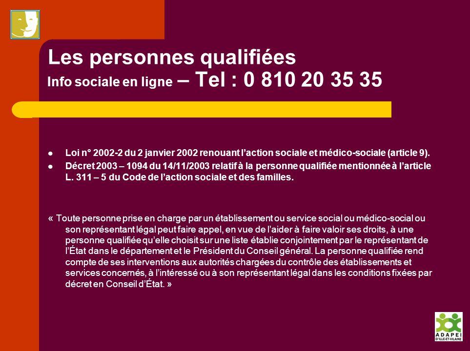 Les personnes qualifiées Info sociale en ligne – Tel : 0 810 20 35 35