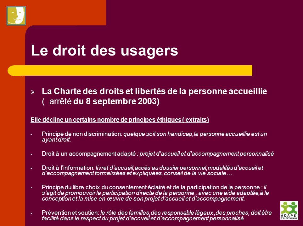 Le droit des usagers La Charte des droits et libertés de la personne accueillie. ( arrêté du 8 septembre 2003)