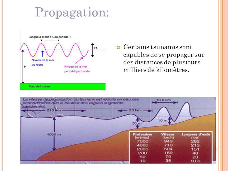 Propagation: Certains tsunamis sont capables de se propager sur des distances de plusieurs milliers de kilomètres.