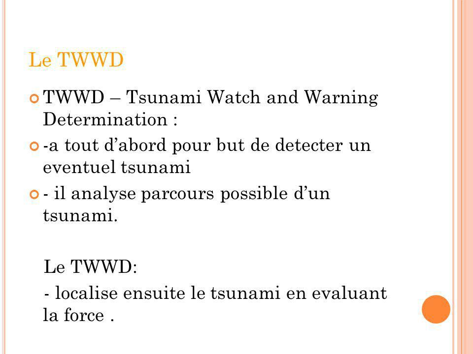 Le TWWD TWWD – Tsunami Watch and Warning Determination :