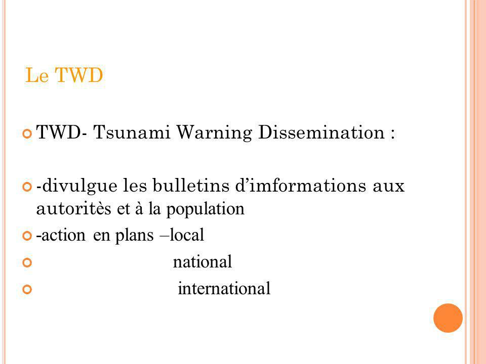 Le TWD TWD- Tsunami Warning Dissemination :