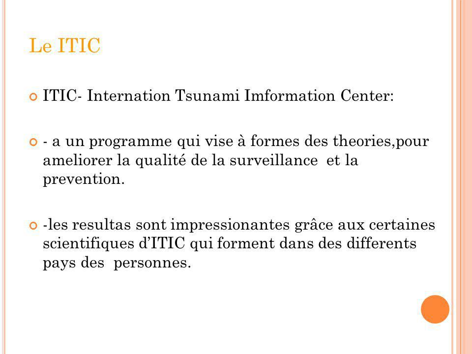 Le ITIC ITIC- Internation Tsunami Imformation Center: