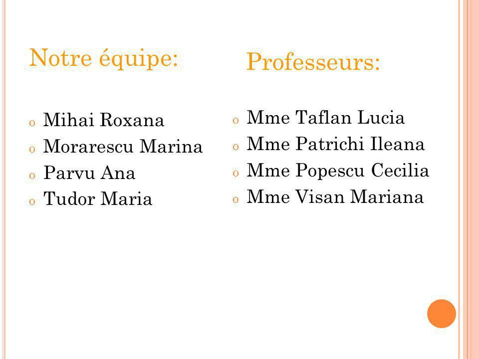Notre équipe: Professeurs: Mihai Roxana Mme Taflan Lucia