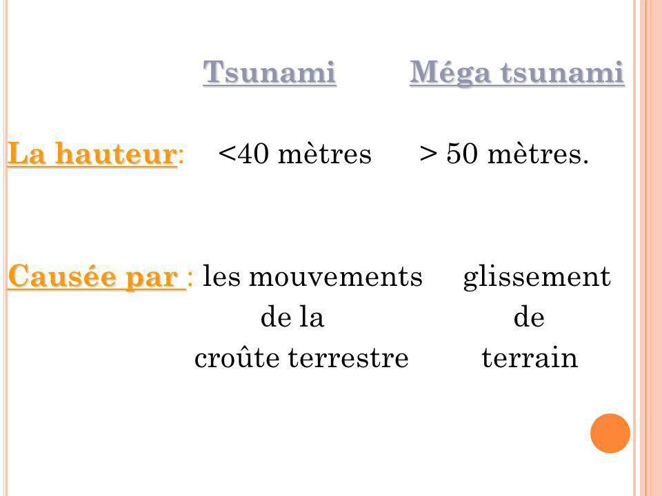 Tsunami Méga tsunami La hauteur: <40 mètres > 50 mètres. Causée par : les mouvements glissement.