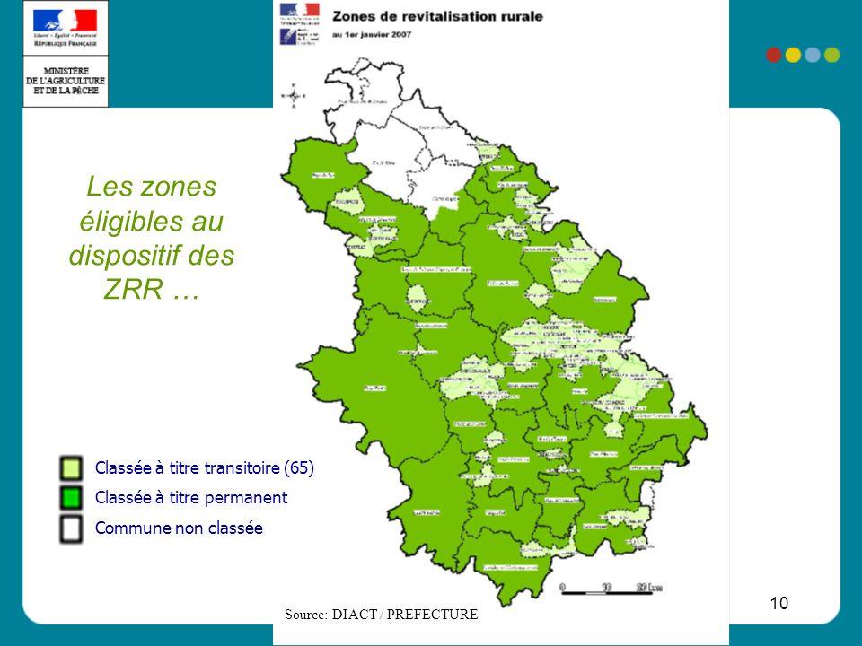 Les zones éligibles au dispositif des ZRR …