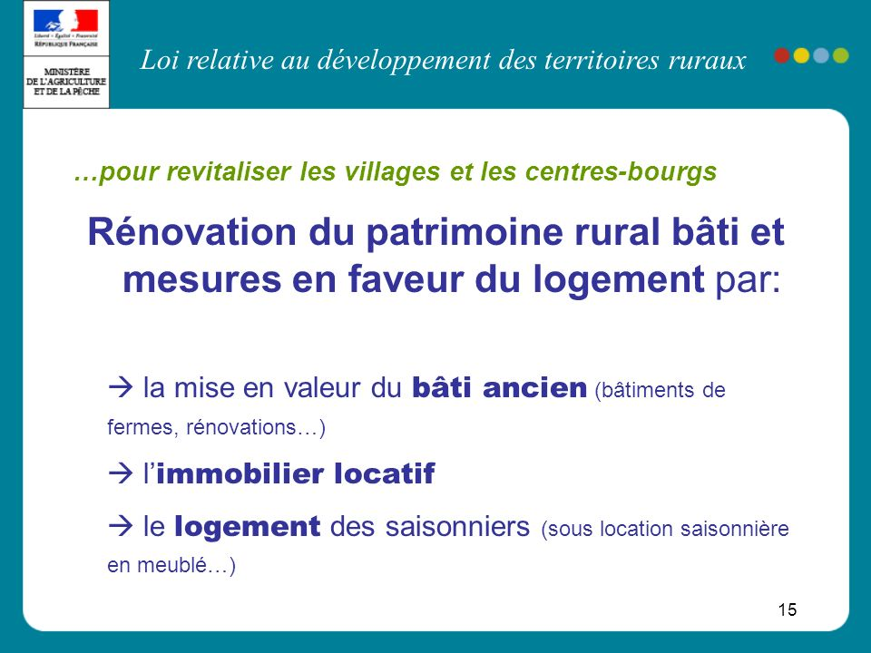 …pour revitaliser les villages et les centres-bourgs