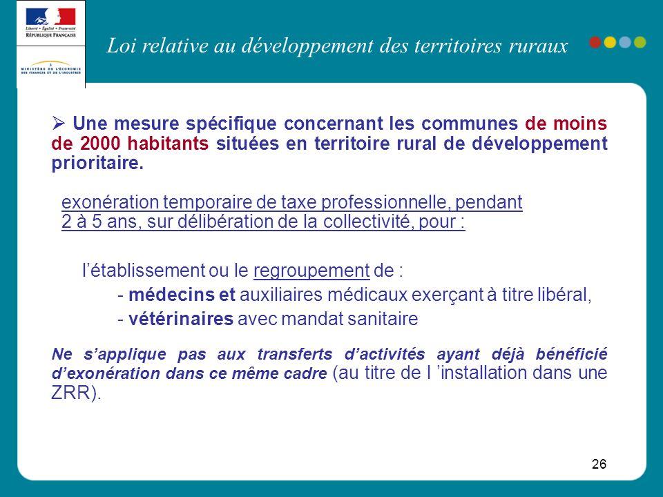 Loi relative au développement des territoires ruraux