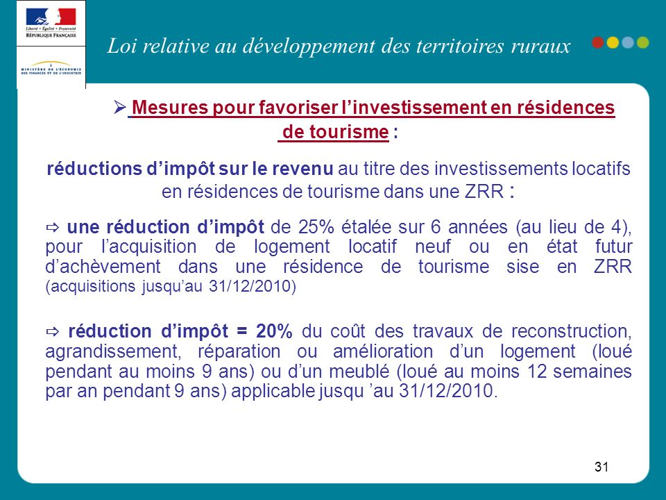  Mesures pour favoriser l'investissement en résidences