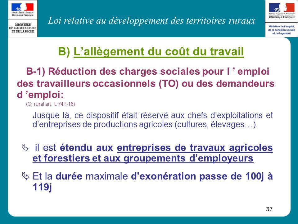 B) L'allègement du coût du travail
