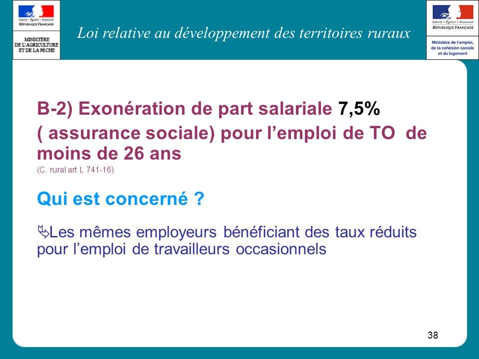 B-2) Exonération de part salariale 7,5%