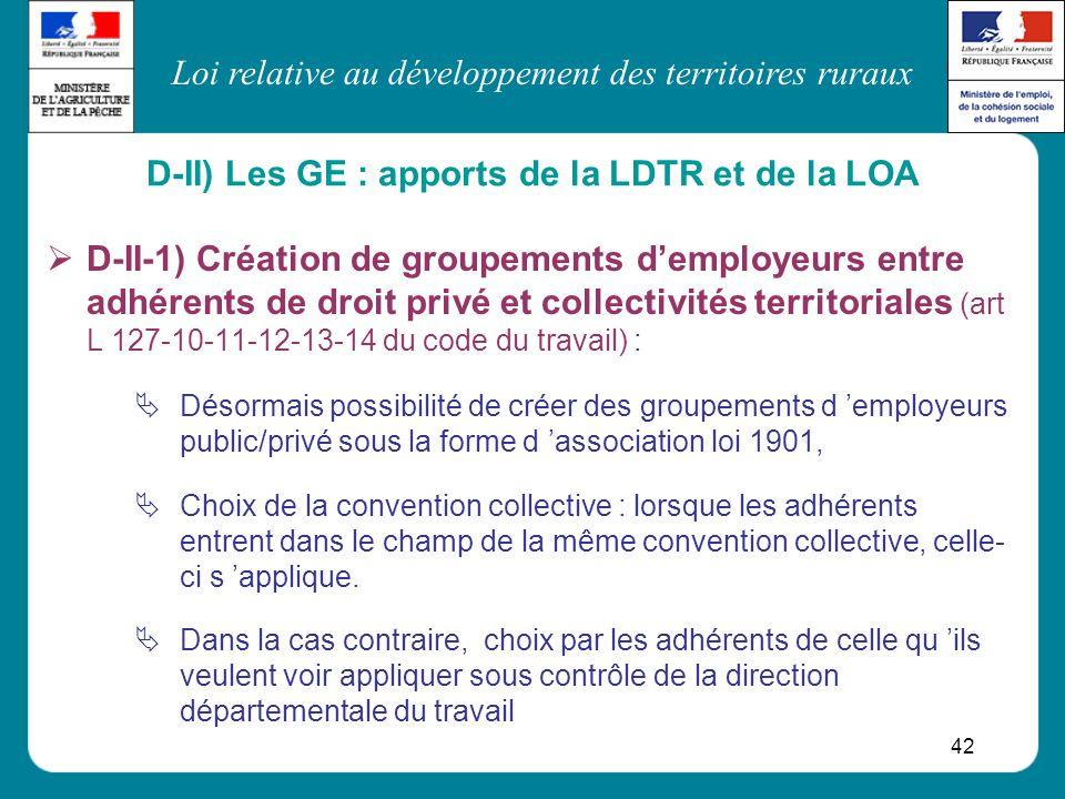 D-II) Les GE : apports de la LDTR et de la LOA