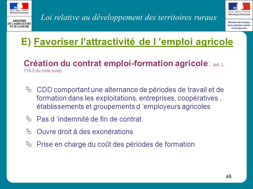 E) Favoriser l'attractivité de l 'emploi agricole
