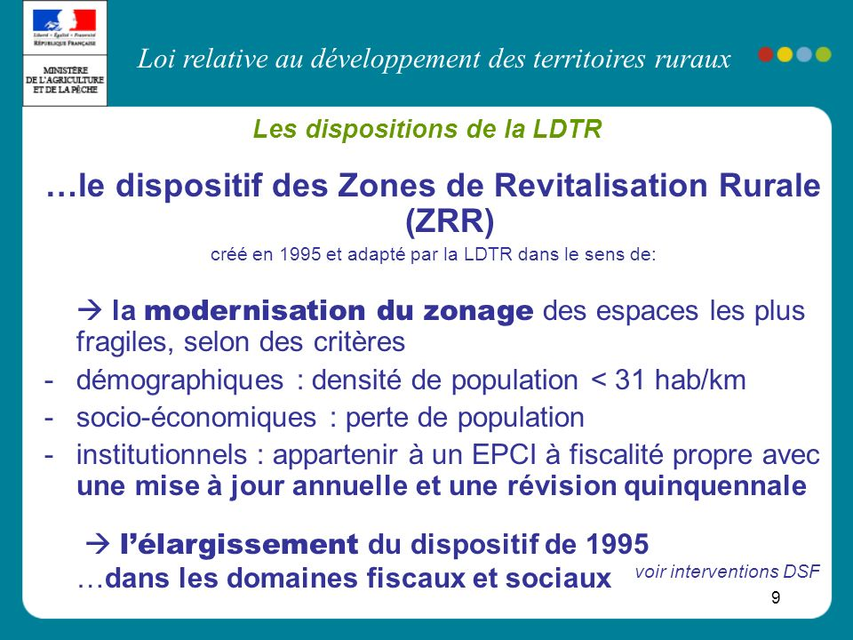 Les dispositions de la LDTR