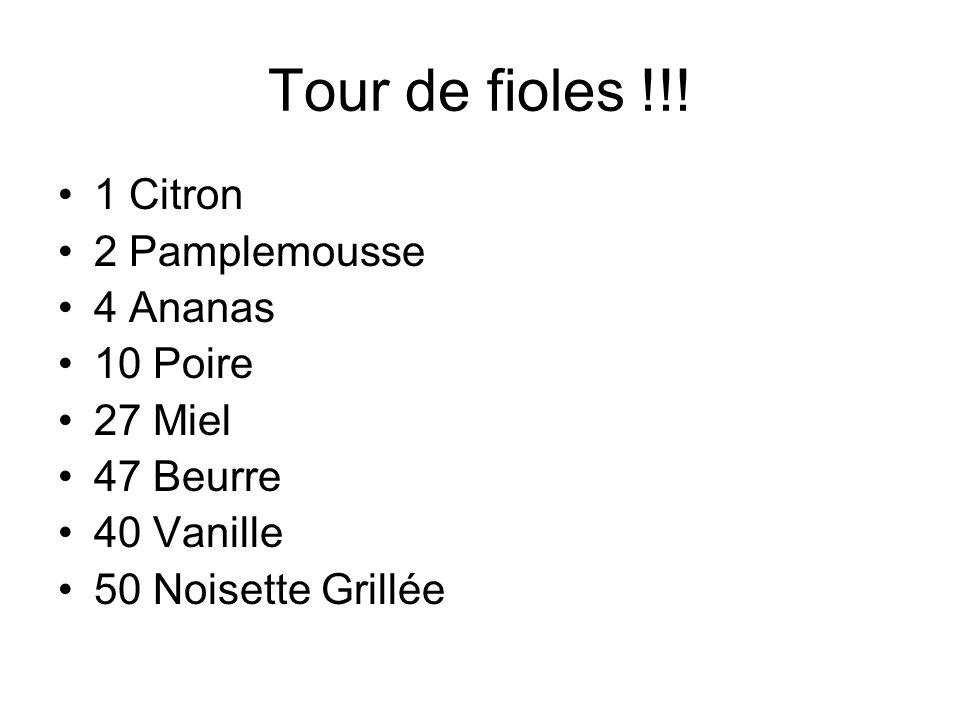 Tour de fioles !!! 1 Citron 2 Pamplemousse 4 Ananas 10 Poire 27 Miel