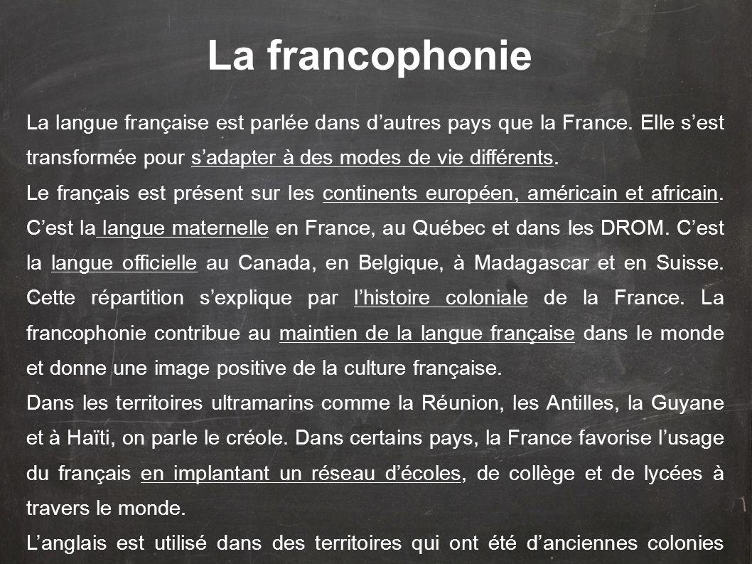 La francophonie La langue française est parlée dans d'autres pays que la France. Elle s'est transformée pour s'adapter à des modes de vie différents.