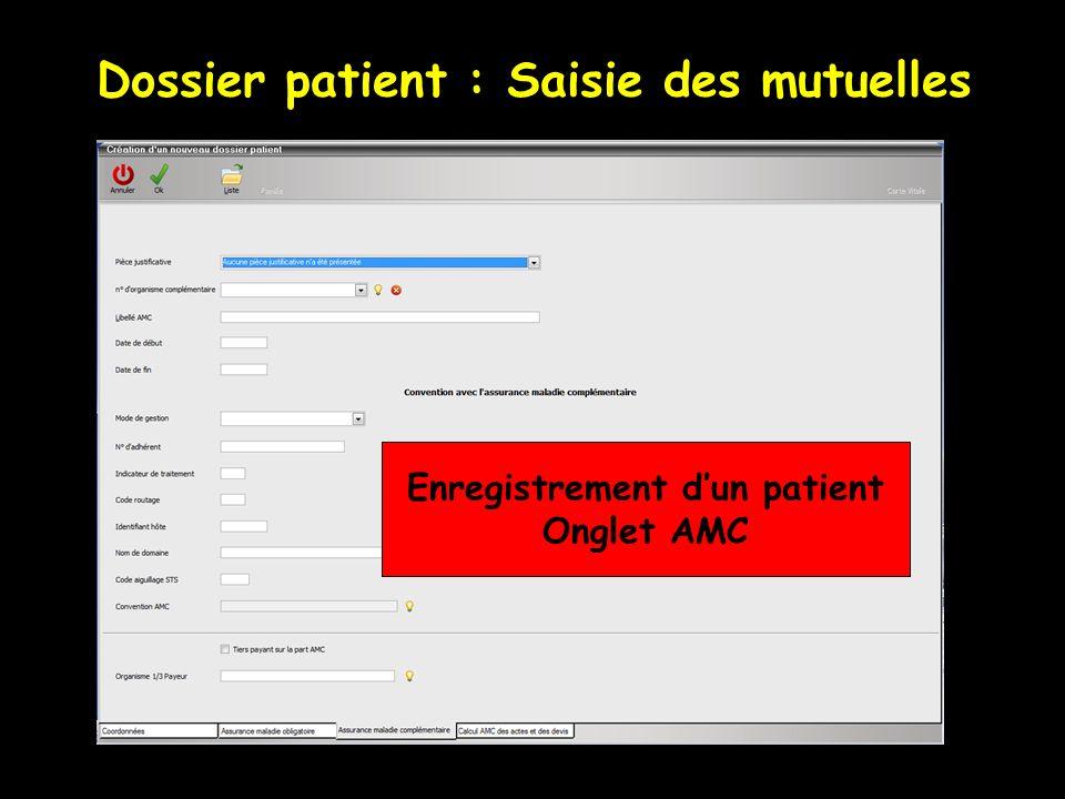 Dossier patient : Saisie des mutuelles