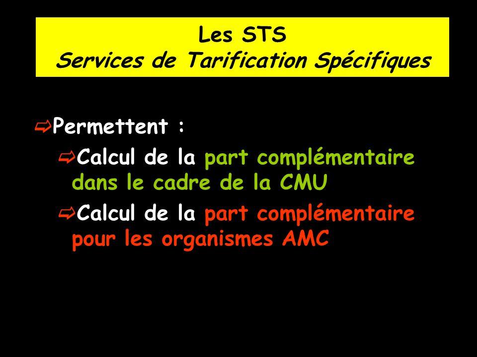 Les STS Services de Tarification Spécifiques
