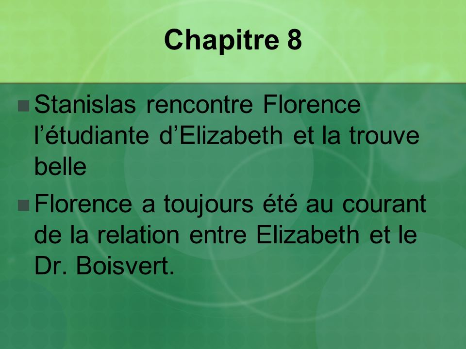 Chapitre 8 Stanislas rencontre Florence l'étudiante d'Elizabeth et la trouve belle.