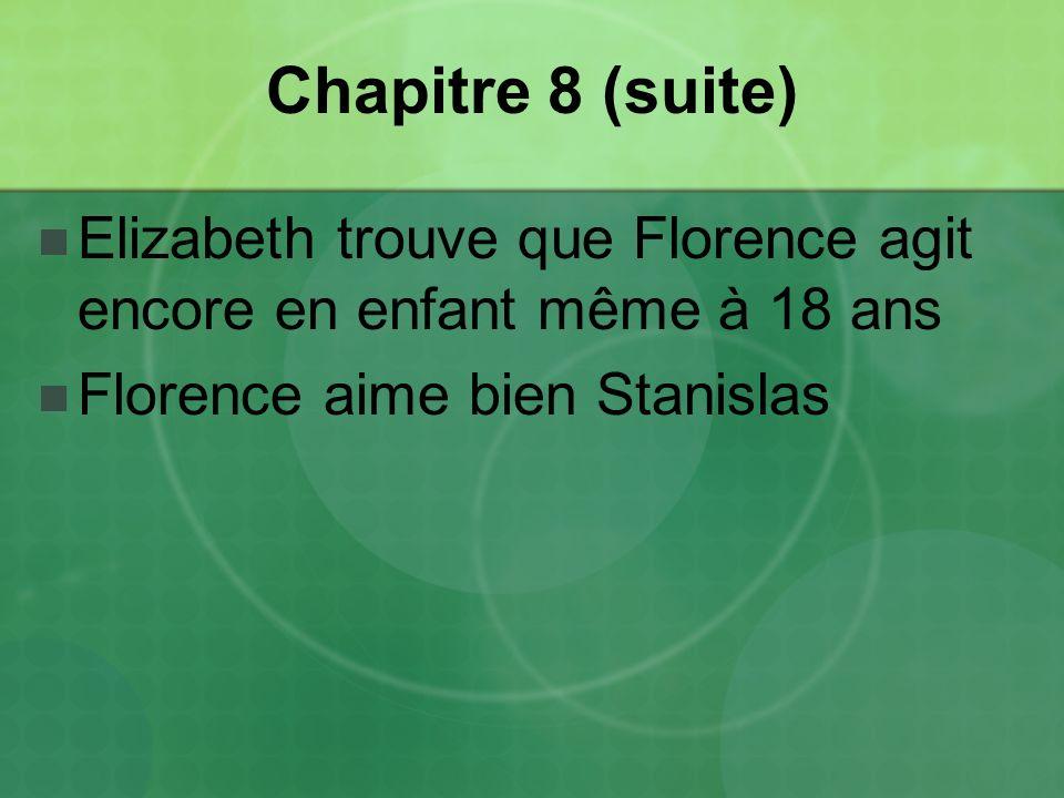 Chapitre 8 (suite) Elizabeth trouve que Florence agit encore en enfant même à 18 ans.