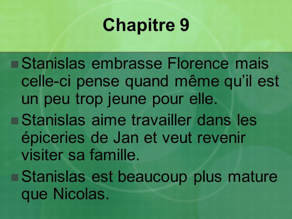 Chapitre 9 Stanislas embrasse Florence mais celle-ci pense quand même qu'il est un peu trop jeune pour elle.