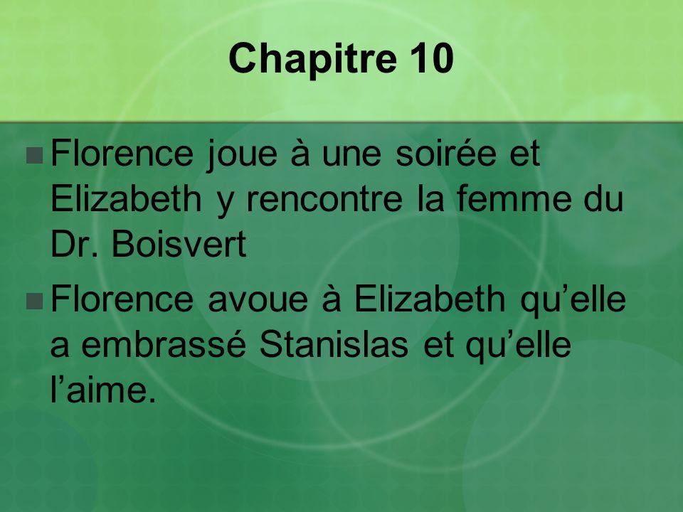 Chapitre 10 Florence joue à une soirée et Elizabeth y rencontre la femme du Dr. Boisvert.