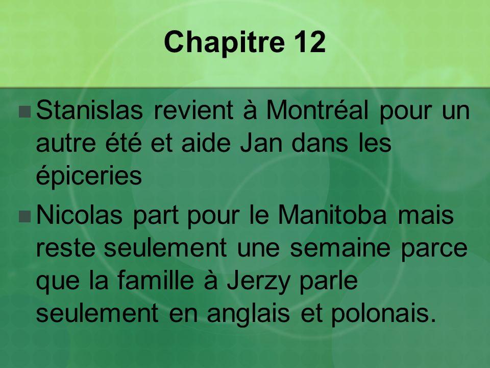 Chapitre 12 Stanislas revient à Montréal pour un autre été et aide Jan dans les épiceries.