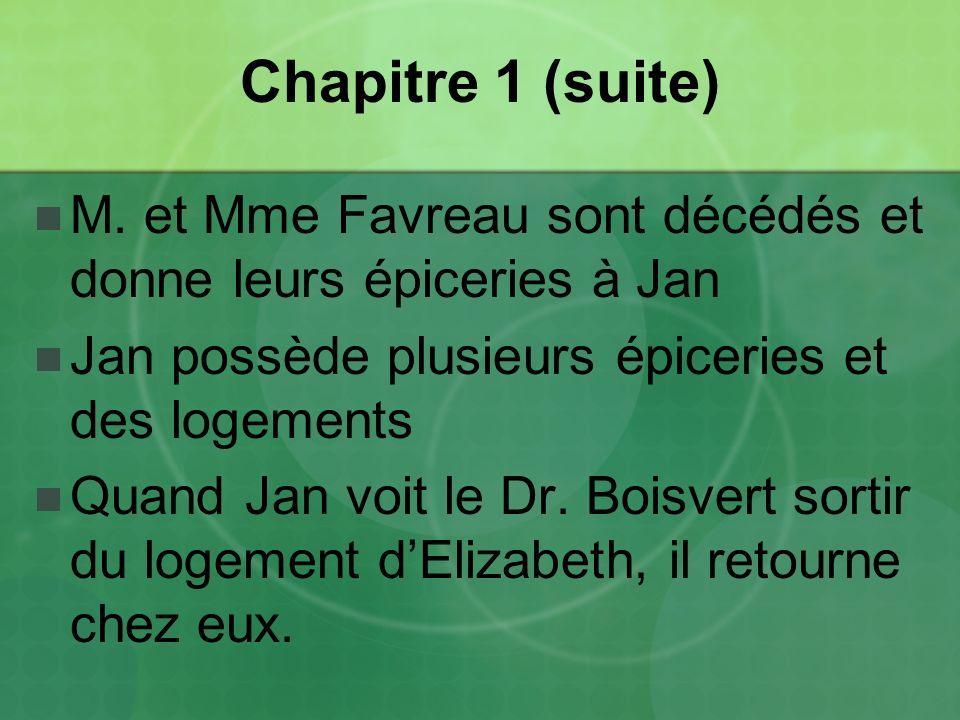 Chapitre 1 (suite) M. et Mme Favreau sont décédés et donne leurs épiceries à Jan. Jan possède plusieurs épiceries et des logements.