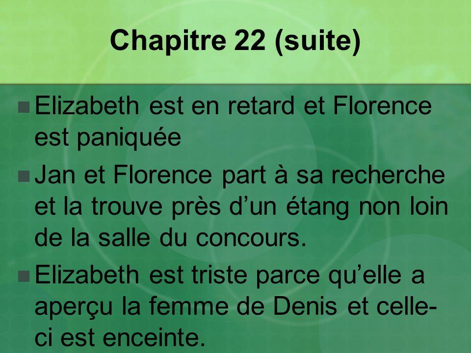 Chapitre 22 (suite) Elizabeth est en retard et Florence est paniquée