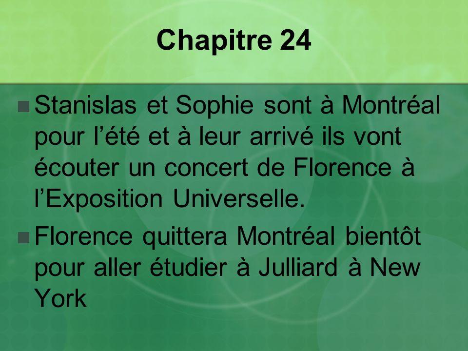 Chapitre 24 Stanislas et Sophie sont à Montréal pour l'été et à leur arrivé ils vont écouter un concert de Florence à l'Exposition Universelle.
