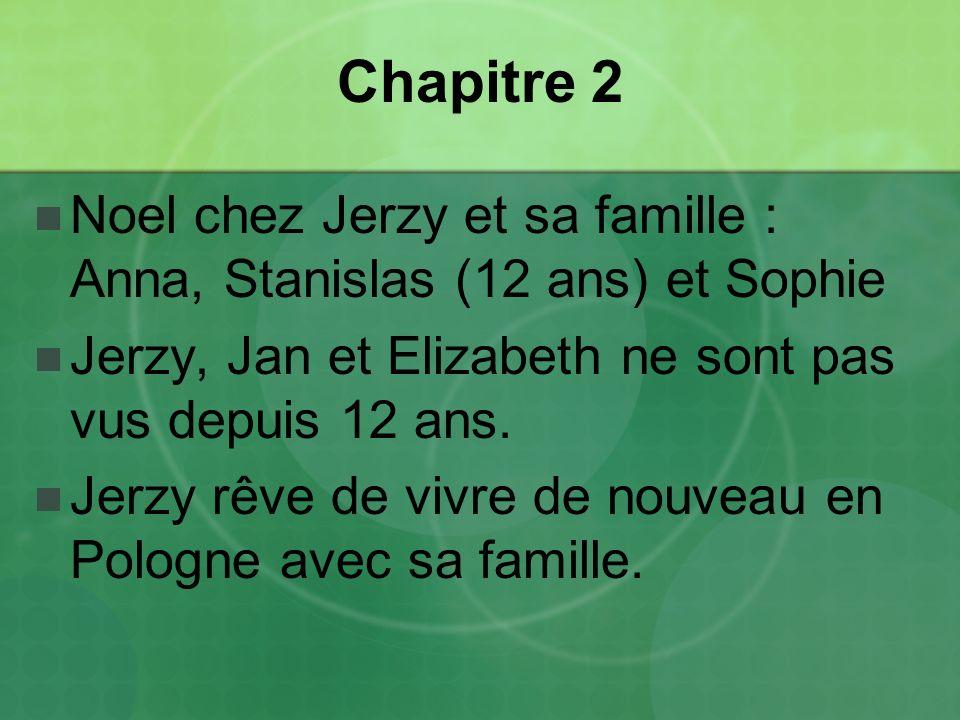 Chapitre 2 Noel chez Jerzy et sa famille : Anna, Stanislas (12 ans) et Sophie. Jerzy, Jan et Elizabeth ne sont pas vus depuis 12 ans.
