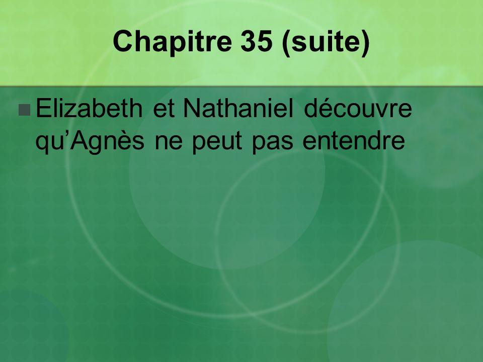 Chapitre 35 (suite) Elizabeth et Nathaniel découvre qu'Agnès ne peut pas entendre