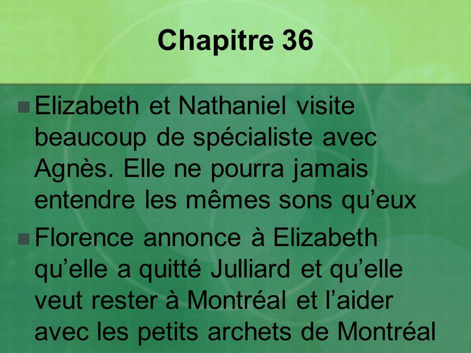 Chapitre 36 Elizabeth et Nathaniel visite beaucoup de spécialiste avec Agnès. Elle ne pourra jamais entendre les mêmes sons qu'eux.