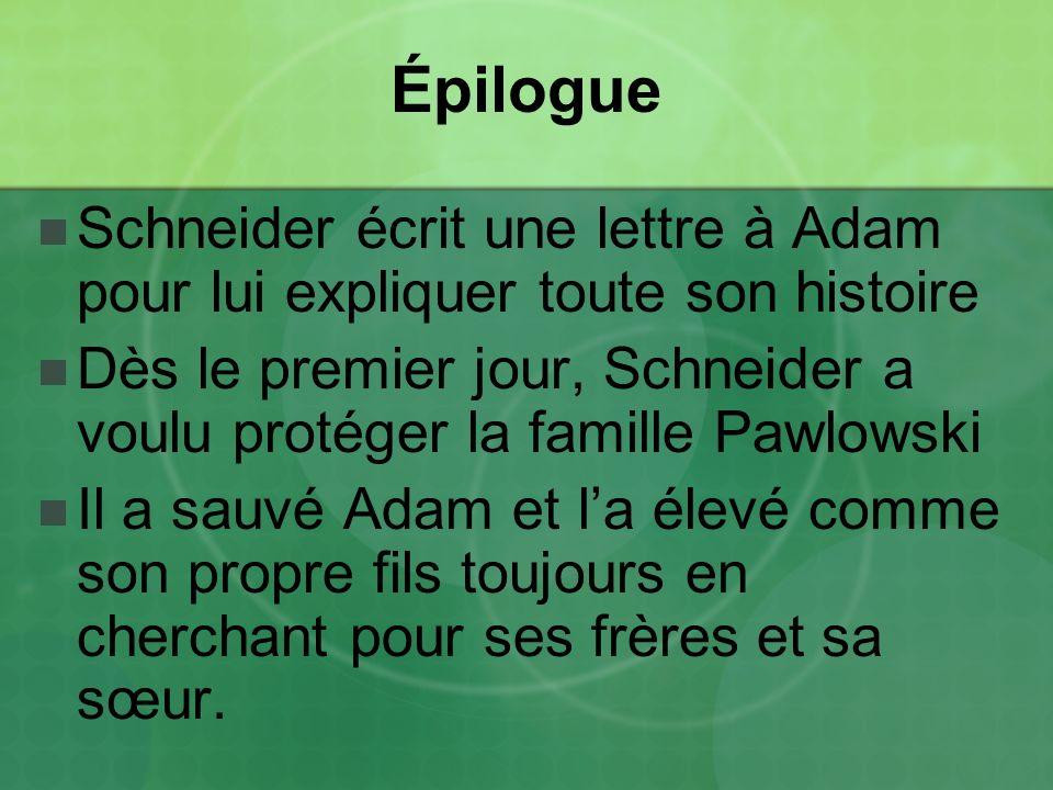 Épilogue Schneider écrit une lettre à Adam pour lui expliquer toute son histoire.