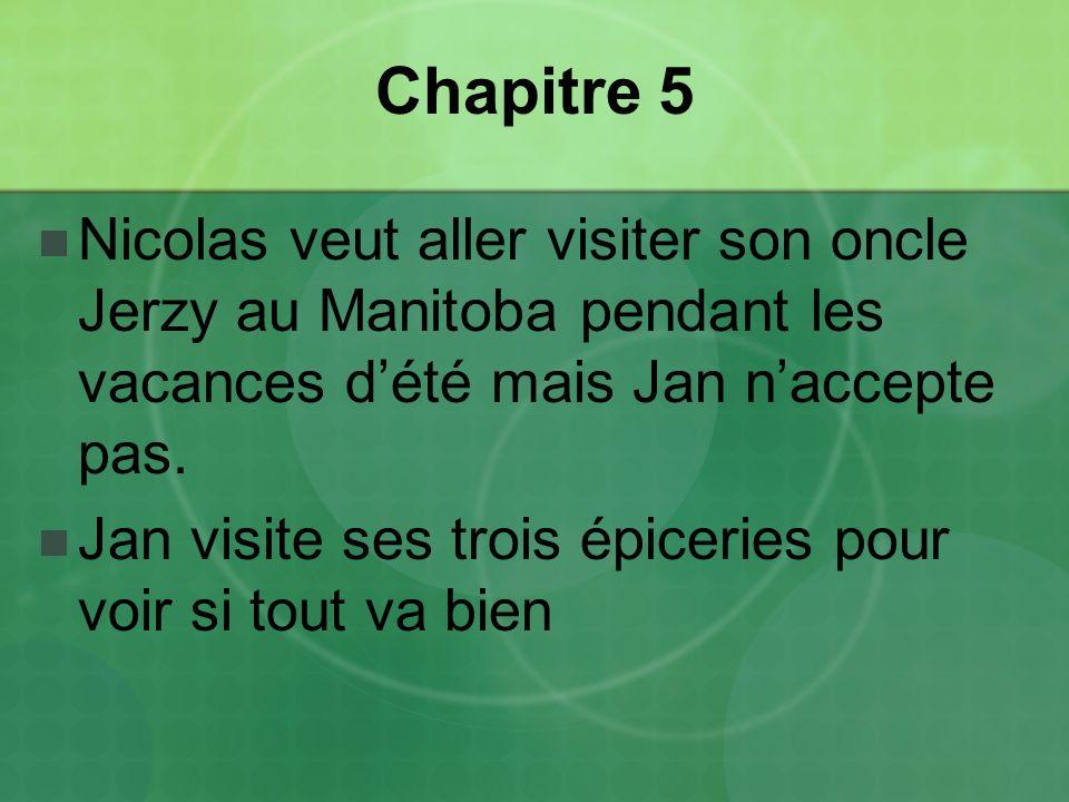 Chapitre 5 Nicolas veut aller visiter son oncle Jerzy au Manitoba pendant les vacances d'été mais Jan n'accepte pas.