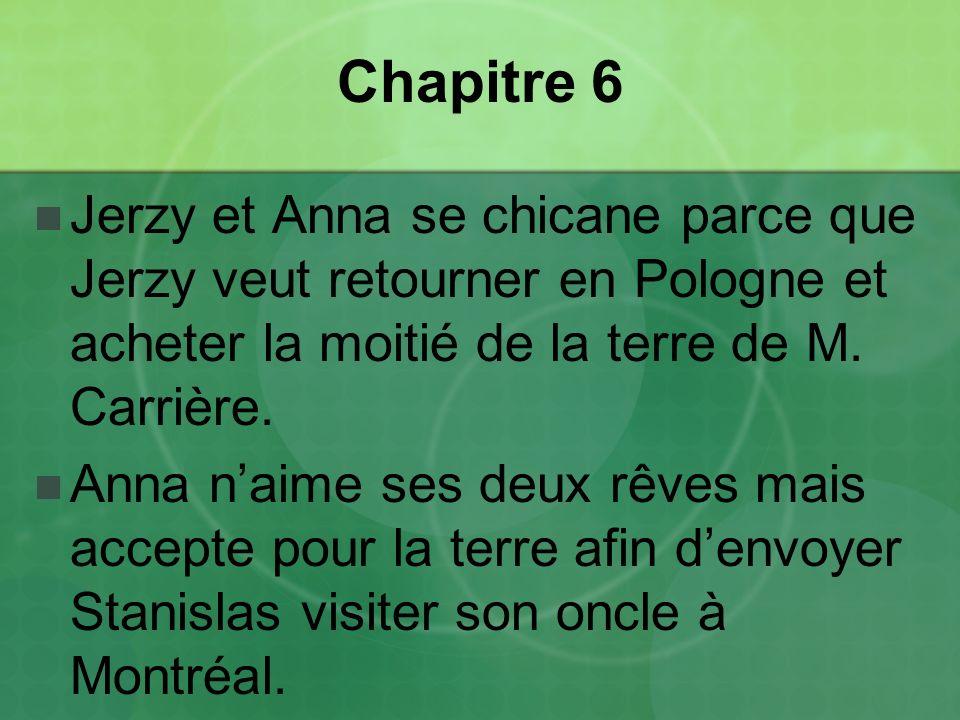 Chapitre 6 Jerzy et Anna se chicane parce que Jerzy veut retourner en Pologne et acheter la moitié de la terre de M. Carrière.