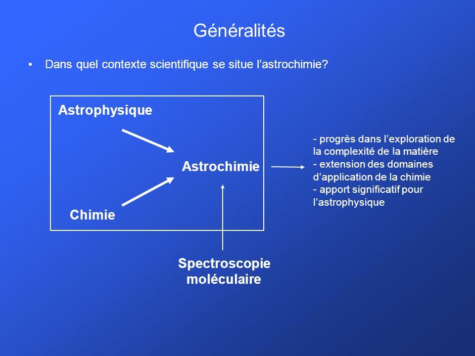 Généralités Astrophysique Astrochimie Chimie Spectroscopie moléculaire