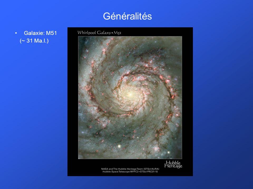 Généralités Galaxie: M51 (~ 31 Ma.l.)