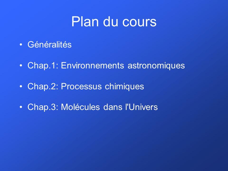 Plan du cours Généralités Chap.1: Environnements astronomiques