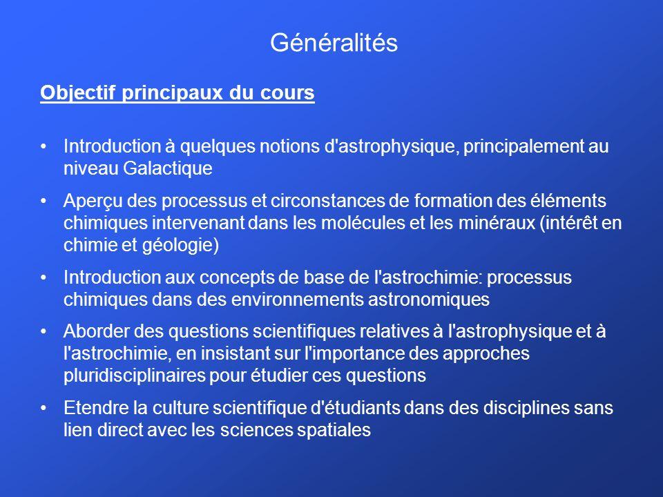 Généralités Objectif principaux du cours