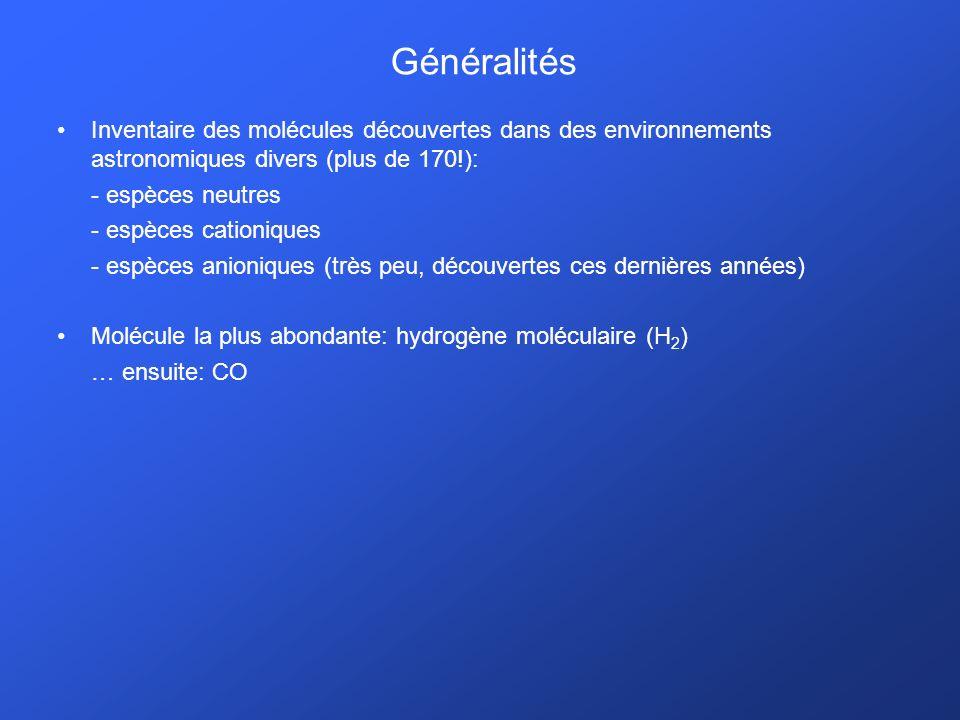 Généralités Inventaire des molécules découvertes dans des environnements astronomiques divers (plus de 170!):