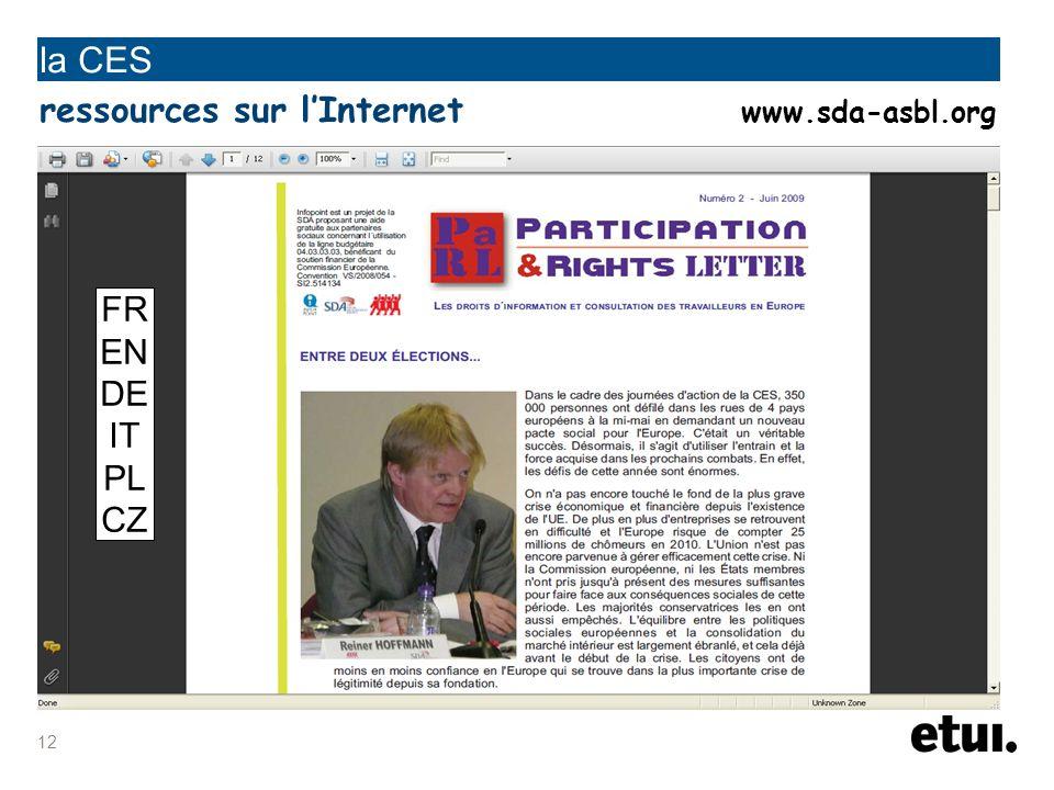 la CES ressources sur l'Internet www.sda-asbl.org FR EN DE IT PL CZ