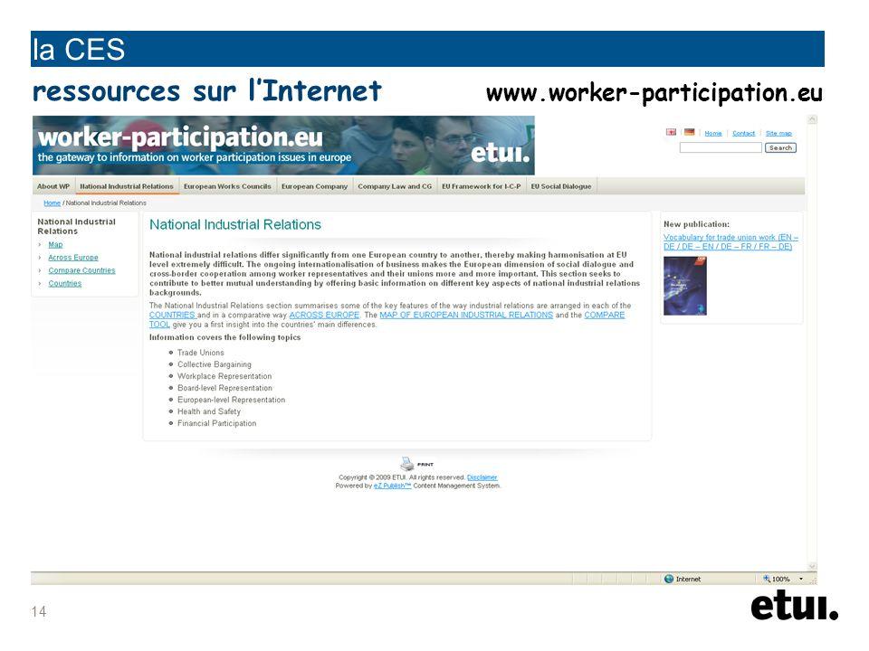 la CES ressources sur l'Internet www.worker-participation.eu