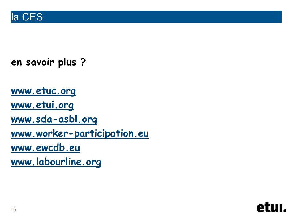 la CES en savoir plus www.etuc.org www.etui.org www.sda-asbl.org