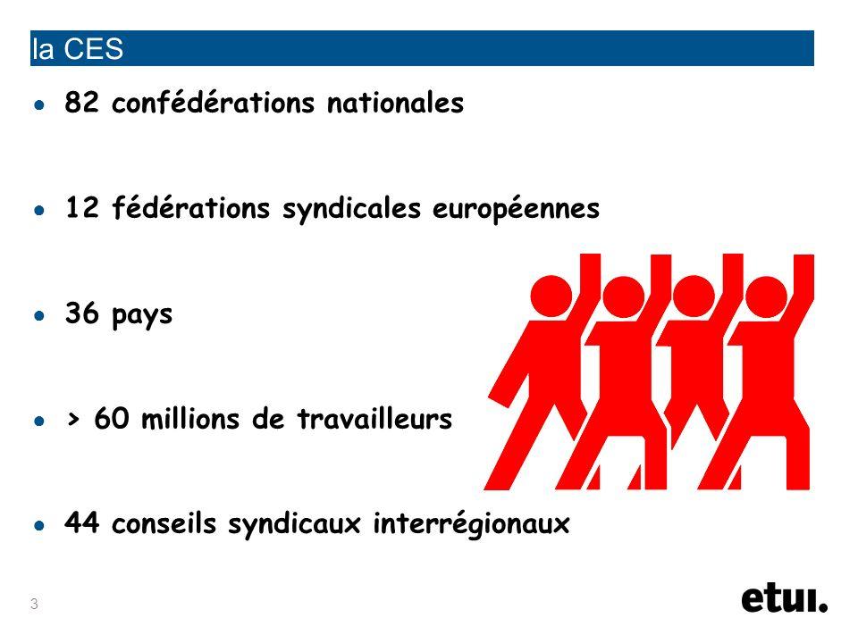 la CES 82 confédérations nationales