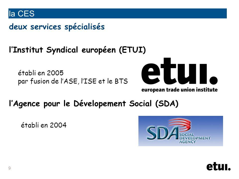 la CES deux services spécialisés l'Institut Syndical européen (ETUI)